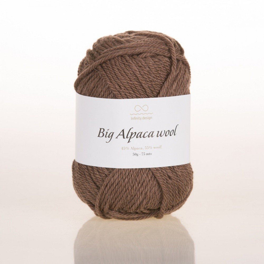 Пряжа BIG ALPACA WOOL INFINITY DESIGN (45% АЛЬПАКА, 55% ШЕРСТЬ) 50г/75м #3161 MEDIUM BROWN