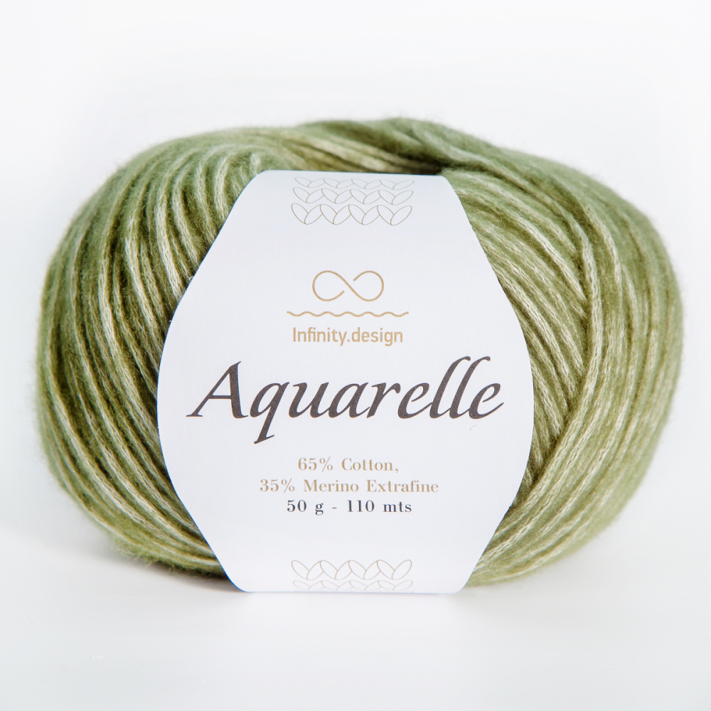 ПРЯЖА AQUARELLE INFINITY DESIGN (65% хлопок, 35% меринос) #9573 MOSE GREEN